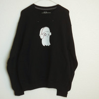 napstablook undertale black crewneck loose sweater - grphitee - adult sizes