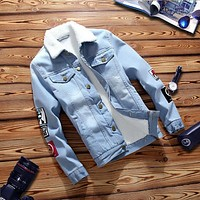 Faux Fur Collar Long Sleeve Denim Jackets