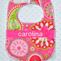 Personalized Bib with Matching Bow - Baby Girl Bib Fuchsia Pink and Lime Green Flower Bursts and Paisley
