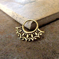 Indian Style Brass Ring For Pierced Nose, Septum, Earring, Cartridge Ring, Tragus Ring Nipple ring, 16G Approx