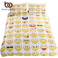 BeddingOutlet Emoji Bedding Set Cute and Fashion Duvet Cover for kids Printed Bedlinen 3Pcs Twin Full Queen King Bedspreads