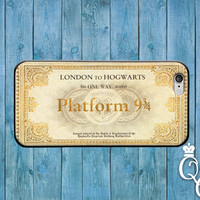 iPhone 4 4s 5 5s 5c 6 6s plus + iPod Touch 4th 5th 6th Generation Cute London to Hogwarts Train Ticket Custom Phone Case Cool Book Fun Cover