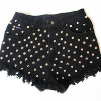 Distressed Shorts / Studded Shorts / Black Shorts /Studded Denim Shorts / High Waisted Shorts -30 Waistk