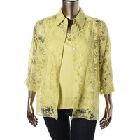 Alfred Dunner Womens 2-in-1 3/4 Sleeves Button-Down Top