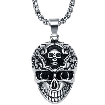 Stainless Steel Gothic Cerebral Skull Pendant Necklace