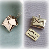 Love Letter Necklace With Custom Hand Stamped Message Inside in Sterling Silver