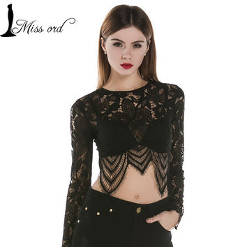 Free Shipping Missord 2015 Sexy long sleeve lace stitching tops  FT2296-1