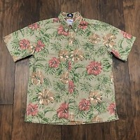 J.Press Reyn Spooner Hibiscus Hawaiian Print Button Down Aloha Shirt Mens Large