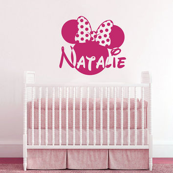 Wall Decal Vinyl Sticker Decals Art Home Decor Design Mural Disney Personalized Custom Baby Name Head Mice Ears Mickey Mouse Gift Kids AN342