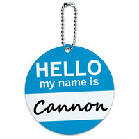 Cannon Hello My Name Is Round ID Card Luggage Tag