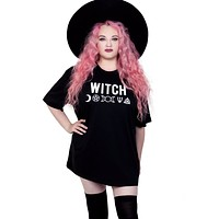 Witch Wicca Symbols Black Oversized Tee