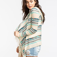 Full Tilt Southwest Womens Hooded Wrap Sweater Cream Combo  In Sizes