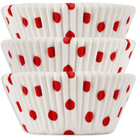 White with Red Polka Dot Baking Cups