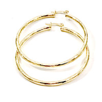 Thin Rope 18Kts Gold Plated Earrings Hoops