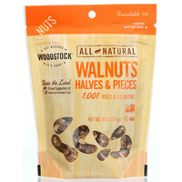 Woodstock Nuts - All Natural - Walnuts - Halves and Pieces - Raw - 6 oz - case of 8