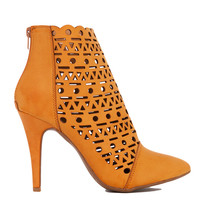 Laser Cut Camel Heeled Ankle Booties