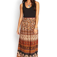 LOVE 21 Paisley Floral Maxi Skirt Brown/Black