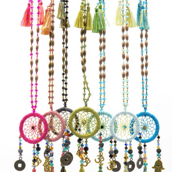 Beaded Long Dream Catcher Necklace with Charms