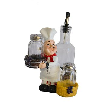 Chef With  Resin & Glass Salt Pepper Shakers  And Oil Holder Figurine