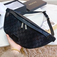 GUCCI New fashion more letter leather shopping and leisure waist bag shoulder bag handbag Black