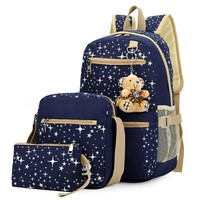3pcs/set Women Canvas Backpack for Teenagers Girls School Bags Korean Rucksack Ethnic Stars Printing Backpacks Escolar Mochila