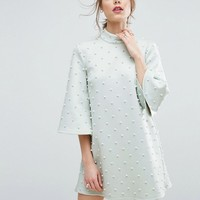 ASOS Pearl Shift Mini With Fluted Sleeve Dress at asos.com