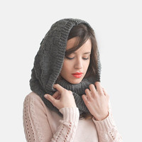 Hand Knit Hood Scarf, Grey Pixie Hooded Scarf, Textured Winter Hat, Unisex Scoodie, Hooded Neckwarmer,  Winter Knitted Hood / Hand Knitted