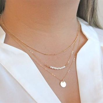 New Arrival Gift Shiny Jewelry Stylish Hot Sale Chain Pearls Set Necklace [7495429319]