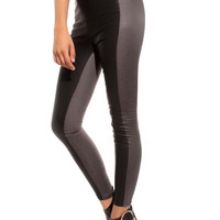 GREY LEGGINGS WITH FAUX LEATHER PANELS