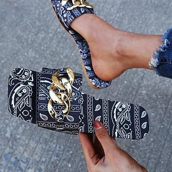 Summer new women's printed letters flat-bottom square head flip-flops slippers shoes