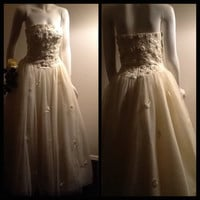 Vintage Pale Yellow Wedding Dress / Bridal / Prom / Long / Strapless / Ball Gown / Beads / Pearl / Pastel / Designer / Lillie Rubin / Formal