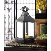 Carriage Style Colonial Black Iron Candle Lantern