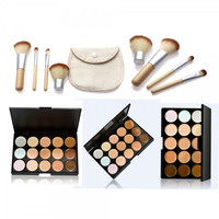 15-Color Concealer Palette & 4pcs Bamboo Handle Brush Kit