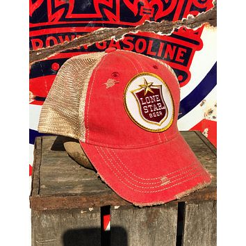 Lone Star Beer Red Logo Hat- Distressed Red Snapback