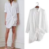Knotted light long-sleeved shirt skirt irregular loose temperament white dress