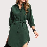High Low Curved Hem Shirt DressFor Women-romwe
