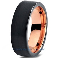 6mm 18k Rose Gold Plated Tungsten Brushed Black Pipe Cut