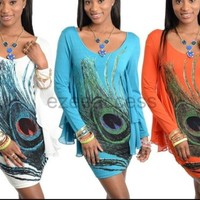 Sexy Women Long Sleeve Angel Flare Tattoo Sublimation Feather Club Mini Dress SL
