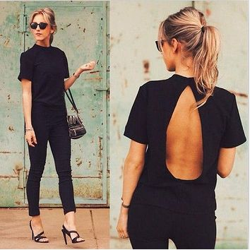 Backless Short Sleeve Slim Sexy T-shirts
