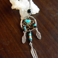 Dream Catcher Belly Ring with Turquoise in The Southwestern Tribal Boho Hippi Belly Dancer Hipster Style