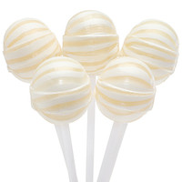 Pineapple Sassy Suckers White Striped Ball Lollipops: 100-Piece Bag