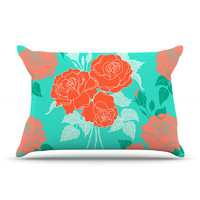 "Anneline Sophia ""Summer Rose Orange"" Teal Green Pillow Case"