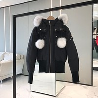 Moose knuckles down Women's men Fashion Casual Cardigan Jacket Coat fashion down jacket black