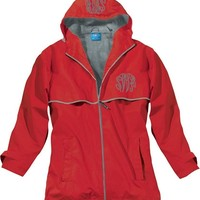 Monogrammed Red New England Rain Jacket