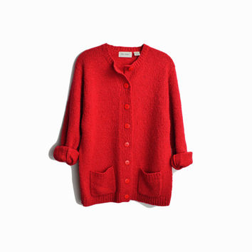Vintage Cherry Red Boucle Cardigan / Duster Cardigan Sweater / Red Valentine's Day Sweater - women's large