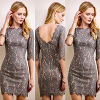 Dreamy Lace 3/4 Bodycon in Grey