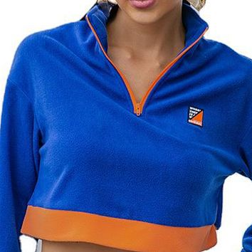 New style hot sale zipper stand collar short loose loose navel sweater women