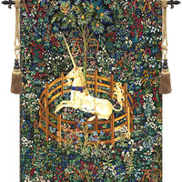 Unicorn in Captivity I Tapestry Wall Hanging