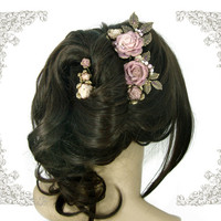 Dusty Pink Victorian Wedding Flower Hair Accessories - Vintage Style Handmade Floral Hair Comb - Dusty Pink Wedding Hair Comb Bronze Wedding