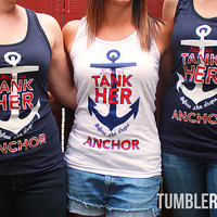 "Bachelorette party nautical tank top  - ""Help us tank her before she drops anchor""  navy, white and red - sailor (4 tanks)"